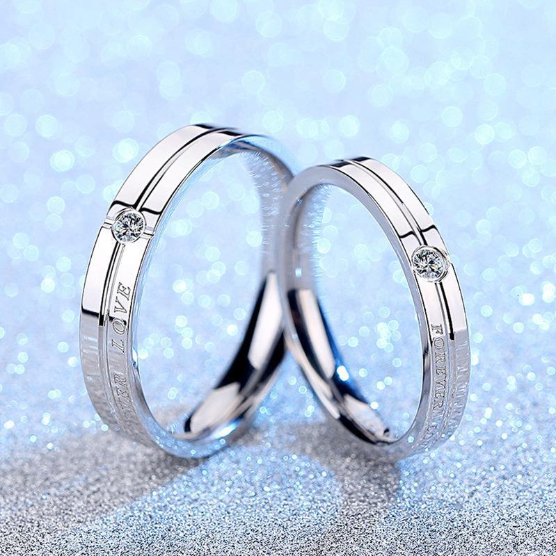 Coppia anelli un paio di femmina 925 argento intarsiato zirconal indice indice dito creativo per sempre amore lettera regalo