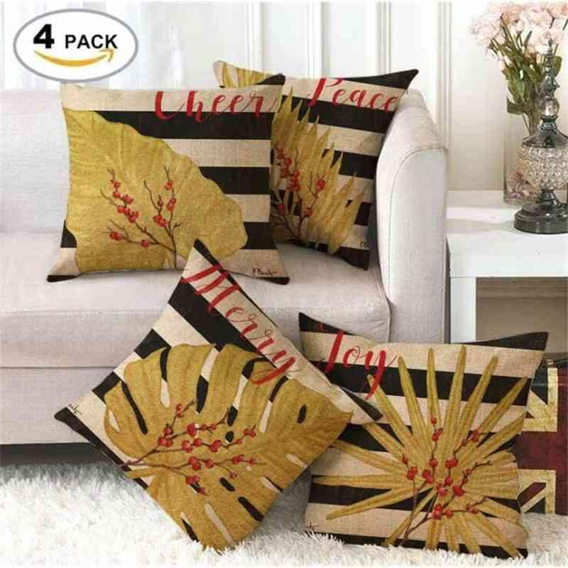 Nordic Golden Leaf Linen Pillowcase Tropical Monstera Print 45 * 45 Cm Home Decoration Sofa Decorative Cushion Cover