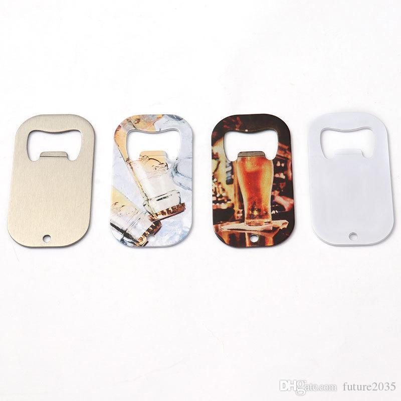 Sublimation Blank Beer Bottle Opener Corkscrew DIY Metal Silver Dog Tag Creative Gift Home Kitchen Tool