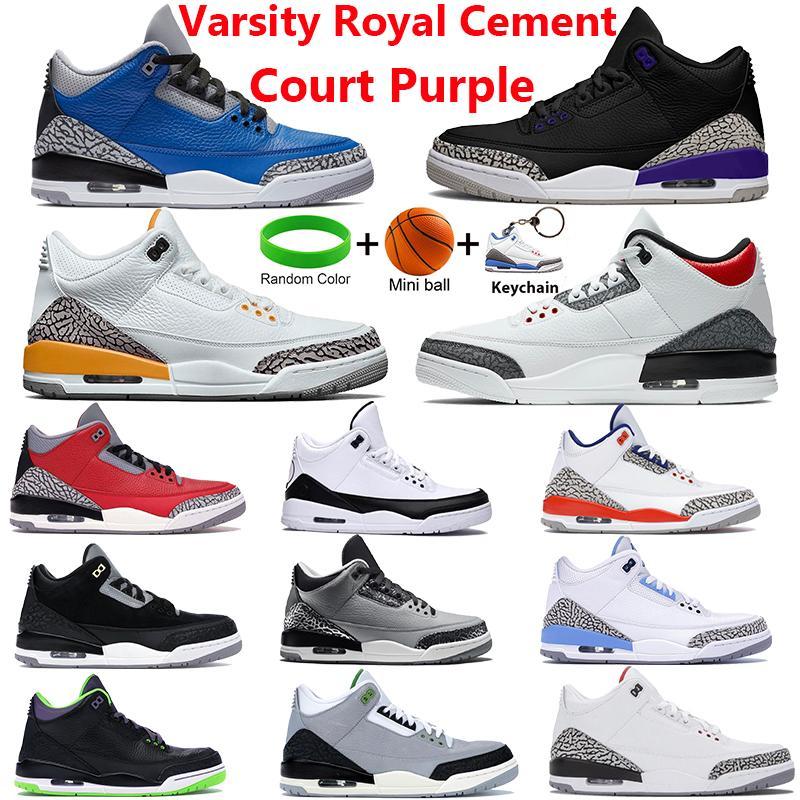 Moda Varsity Royal Cimento III Sapatos de Basquete Court Roxo Fogo Vermelho Denim Laser Laranja Refrigerante Treinadores cinzentos Tinker Black com chaveiros Homens Sneakers