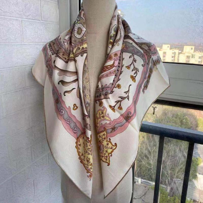 وصول الربيع الصيف الكلاسيكية 100٪ الحرير الخالص وشاح حك اليد جعل لفة 90 * 90 سنتيمتر شال التفاف للنساء سيدة هدية الأوشحة