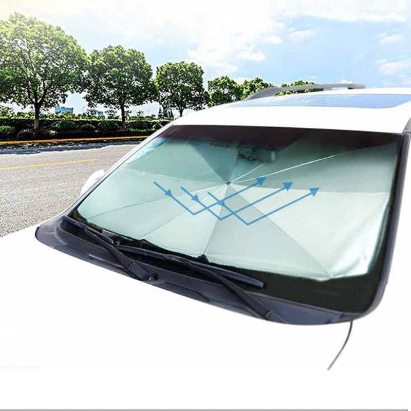 Car Sunshade Cover Heat Insulation Front Window Interior Protection 145CM Foldable Windshield Sun Shade Umbrella