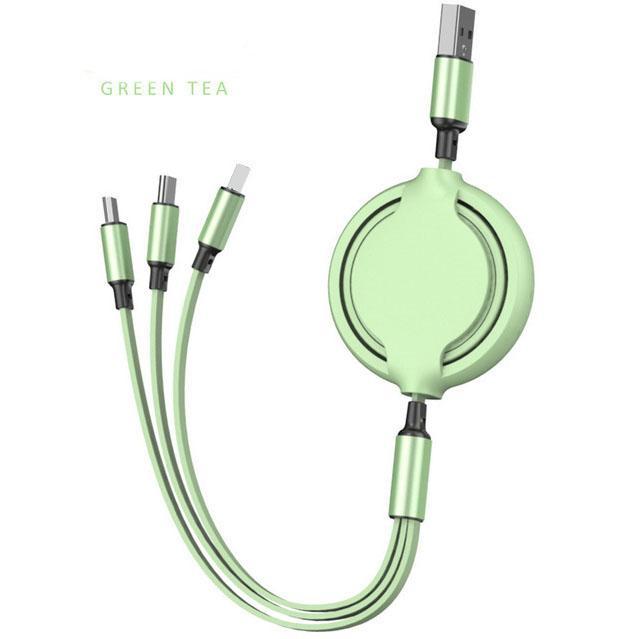 3 in 1 einziehbares Stretchkabel Bequeme Speicher Ladet Kabel Datenleitung für Android Type C MBBlie Samsung Phone MQ100