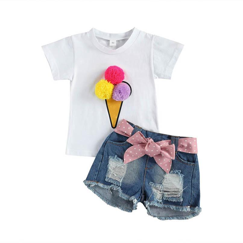 Kids Clothing Sets Girls Outfits Baby Clothes Child Suit Summer Cotton Short Sleeve T-shirts Jeans Denim Hole Shorts 2Pcs 2-8Y B4809