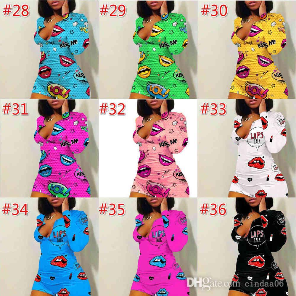 Sexy Women Jumpsuits Designer Impression Vêtements de nuit Body Col V-Cou Bouton Skinny Court Pajama Fashion Mesdames Plus Taille Rompes