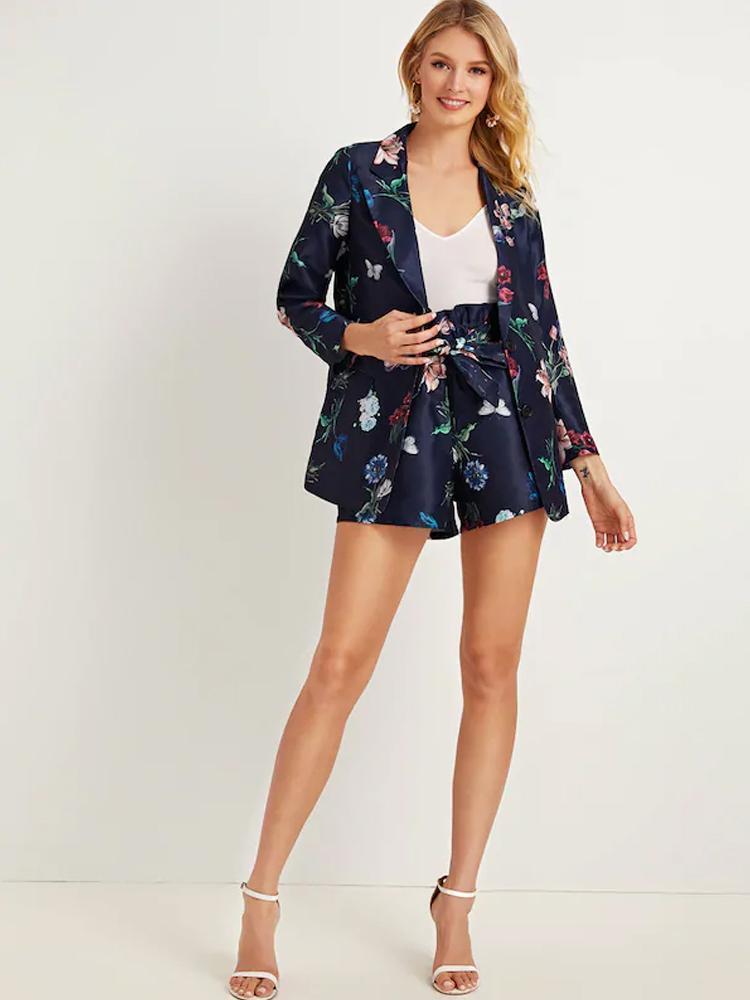 여성용 Tracksuits 2021 가을 수치 세트 2 피스 인쇄 정장 재킷 + 와이드 다리 반바지 패션 거리