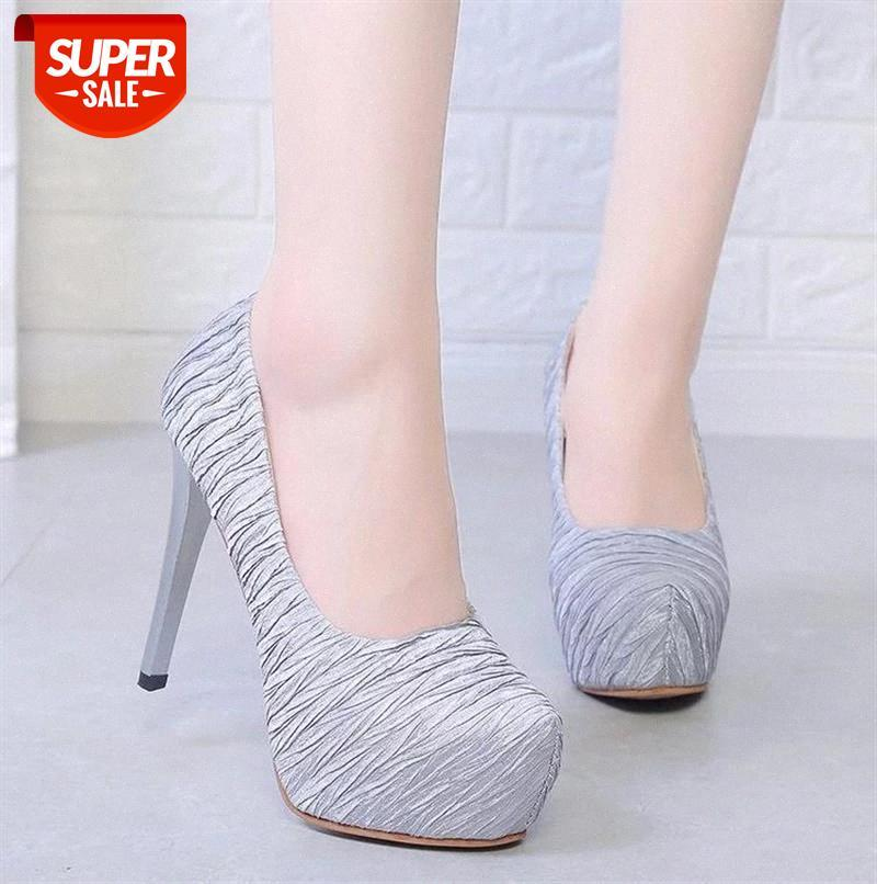 Large Size Women's Shoes Spring And Autumn Single Four Seasons Suede Fine Heeled High-heeled #tp0J