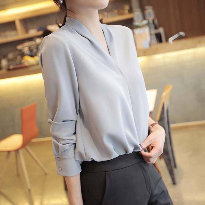 Women Shirts Long Sleeve Solid White Chiffon Office Blouse Women Clothes Womens Tops And Blouses Blusas Mujer De Moda 2021 A403