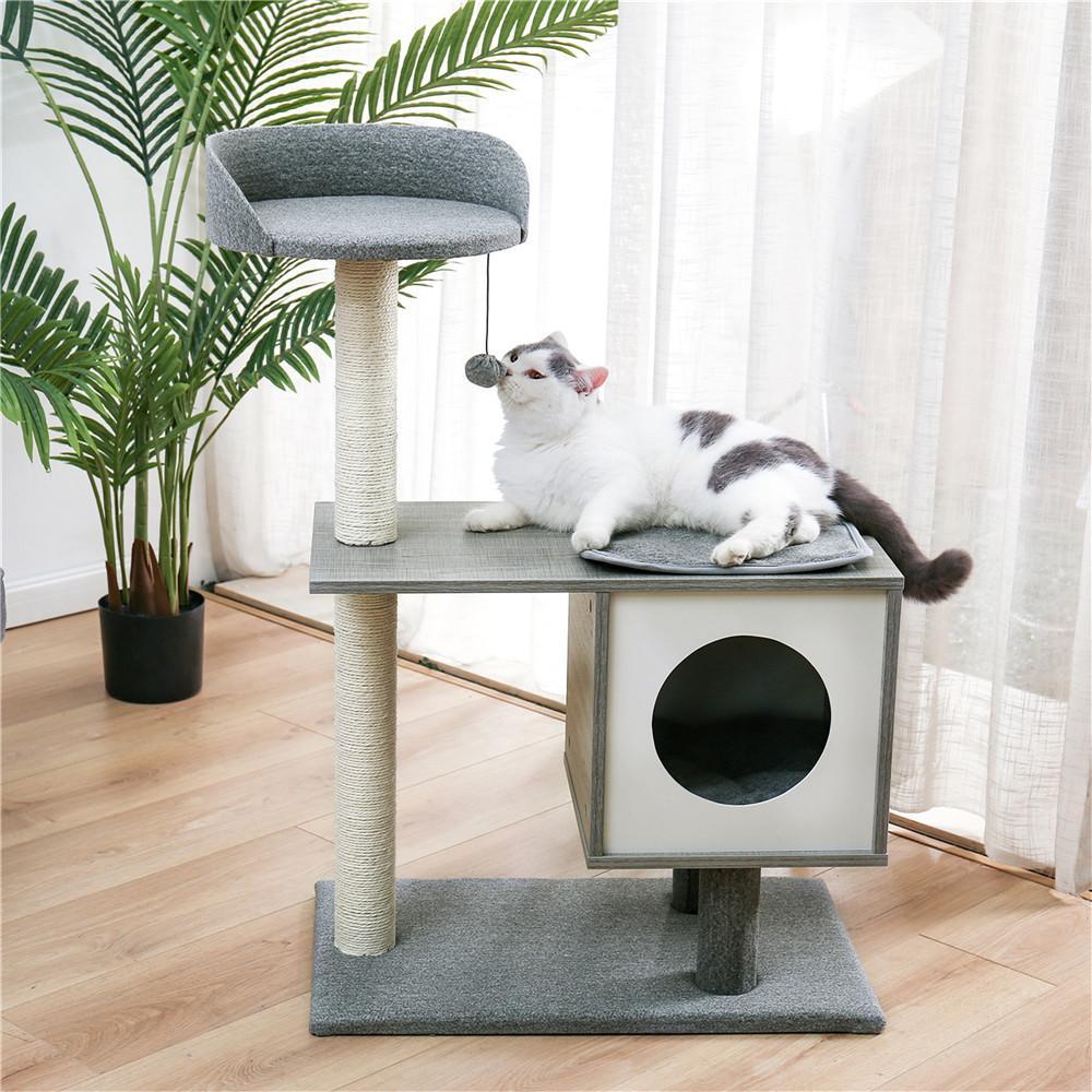Кошка дерево многоуровневые и мебельные царапины Роскошные башни 50 дюймов с 2 квартирами Просторные окуты царапающие посты