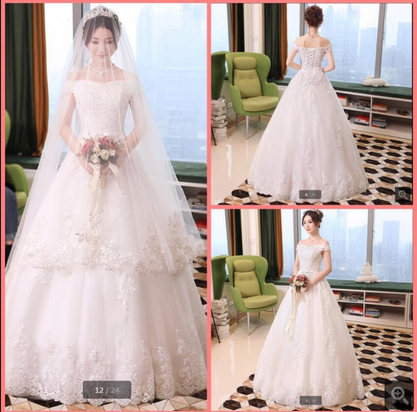 2021 Attractive wholesale off the shoulder v neckline wedding gowns princess puffy short sleeve vintage beaded lace appliques bridal dresses custom made