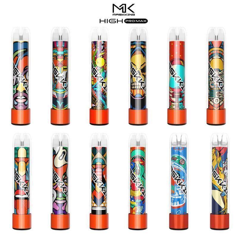 Maskking High Pro Max jetable Vape Cigarettes électroniques 1500 Puffs 4,5 ml Cartouche Prêt à utiliser Boucle transparent 13 Couleurs Vapeurs Vente en gros