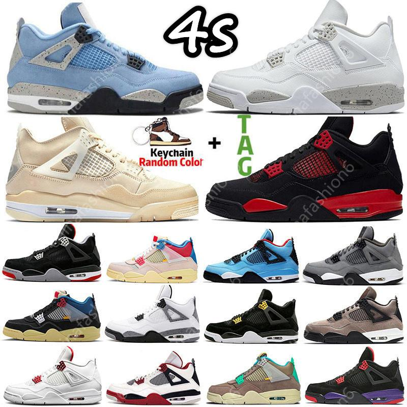 أحذية كرة السلة Sail University Blue 4 4s Mens Basketball Shoes Sneakers Fire Red Thunder Oreo DIY Bred Black Cat Shimmer Guava Ice men women Sports Trainers