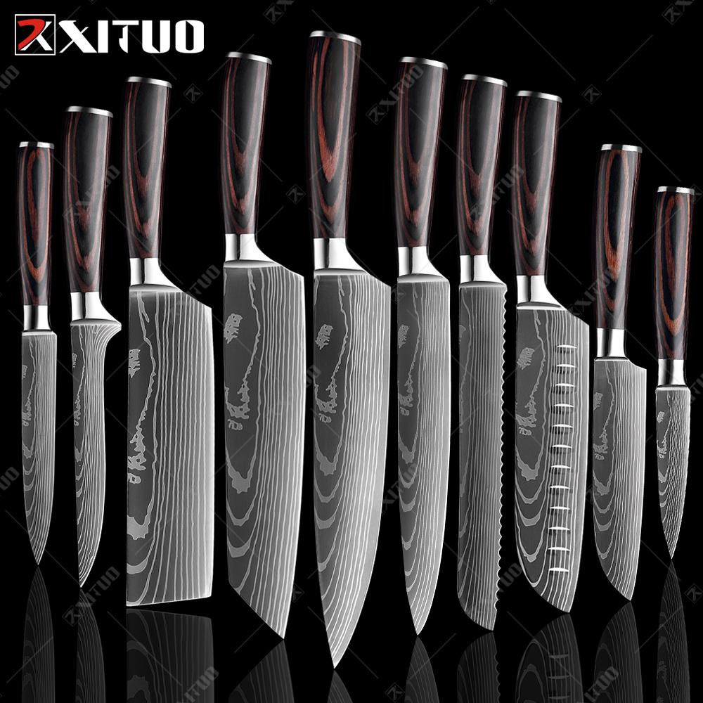 Xituo سكين الشيف 1-10 قطع مجموعة سكاكين المطبخ الليزر دمشق نمط شارب اليابانية سطوكو سكين الساطور تقطيع فائدة سكين المطبخ سكاكين المطبخ سكاكين مجموعة