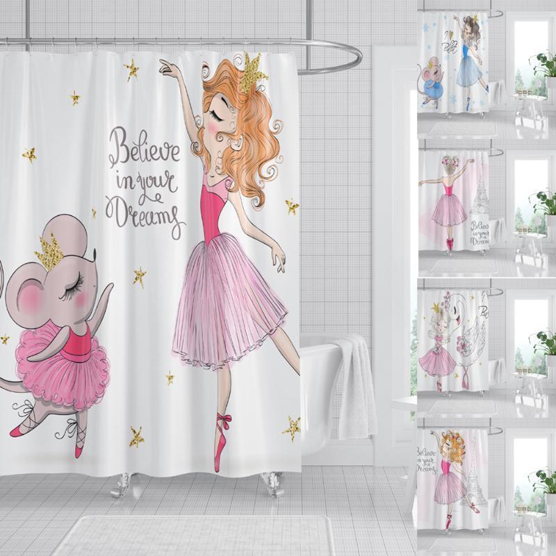 Shower Curtains Princess Girls Curtain Waterproof Hang Cartoon Bathroom Decoration Bath Accessories Danceing Girl Print