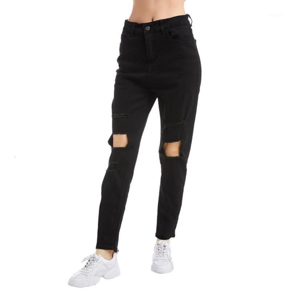 여성용 검은 높은 허리 찢어진 청바지 캐주얼 스트레이트 패션 스트레치 청바지 여성 가을 바지 1