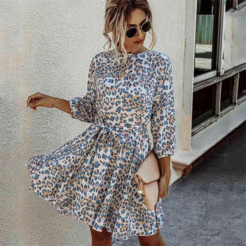 leopard print autumn winter dress o neck sash casual women ladies elegant short blue vestidos 210528