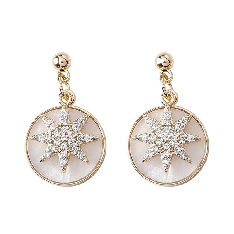 Estilo de Corea Pin Silver Pin Retro Star Shell Pendientes de gota redonda para mujeres Moda Joyería Accesorios Colgelar Araña