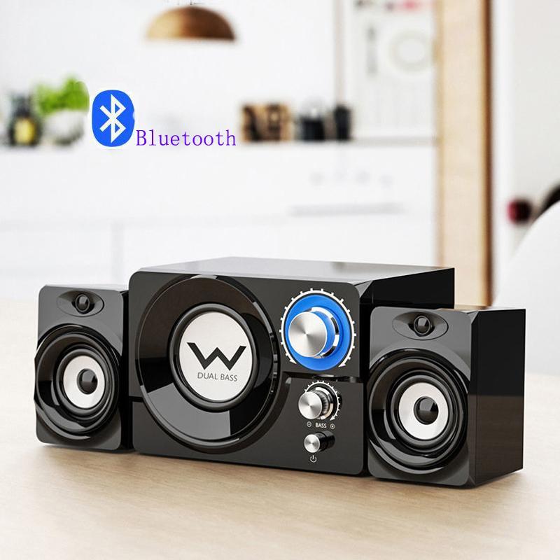 Altavoces de combinación Bluetooth USB cableado de madera Subwoofer Perilla Música portátil Ponente de computadora para escritorio TV Tablet Smartphone