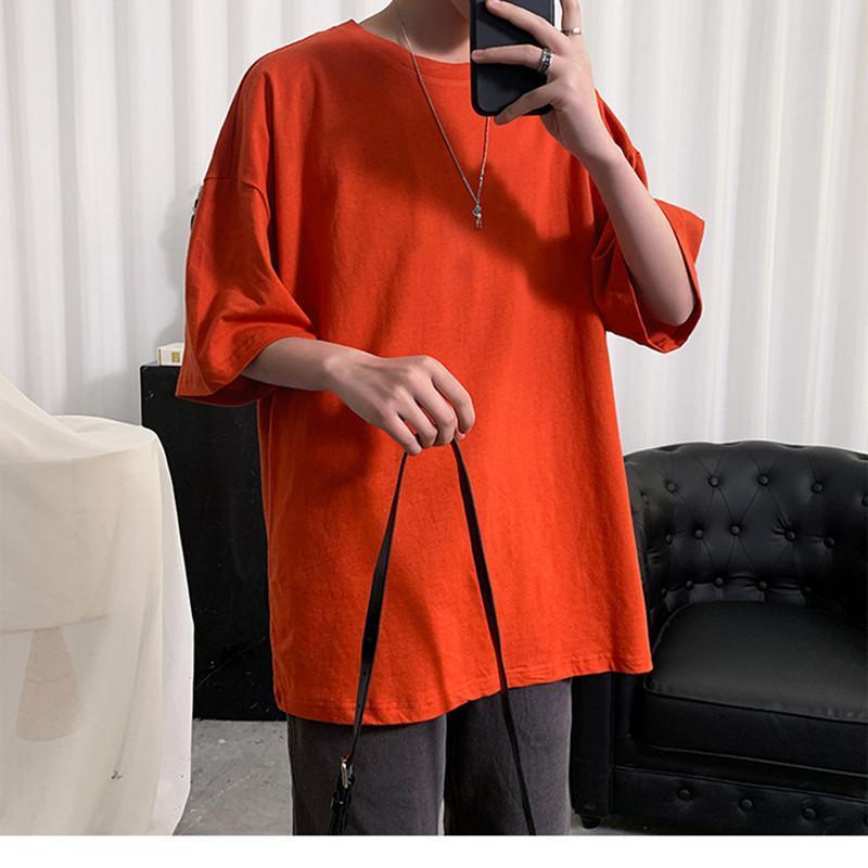 Camiseta de gran tamaño liso hombres culturismo y fitness suelto ocasional estilo de vida desgaste camiseta masculina streetwear hip-hop tops camisetas de los hombres