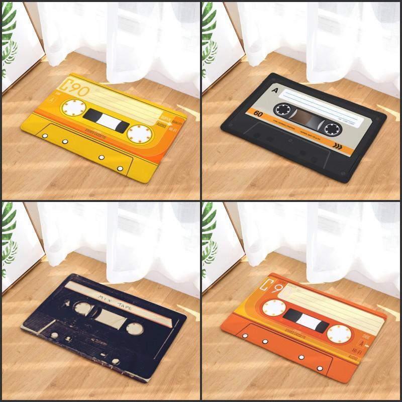 Door mat Flannel Plush Vintage Cassette Tape Indoor Doormat Non Slip Door Floor Mats Carpet Rugs Decor Porch Doormat Tapete GWE5974