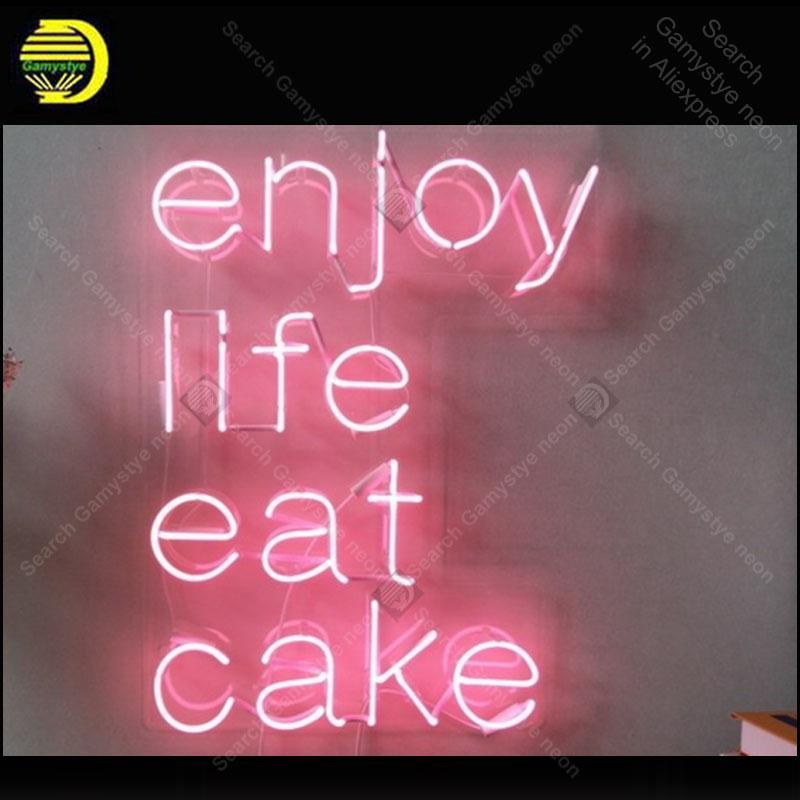Profitez de la vie Mange Gake Neon Signe Charmante Signe de lumière Néon à la main Décorer à la maison Chambre à coucher Art emblématique Art Néon Lampes ornés Artwork