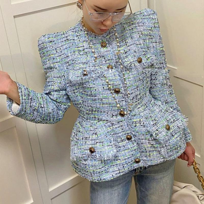 Frauen Blau Rüschen Plaid Single Breasted Blazer Stand Langarm Slim Fit Mode Gezeiten Frühling Herbst 2021 C966 Damen Anzüge Blazer
