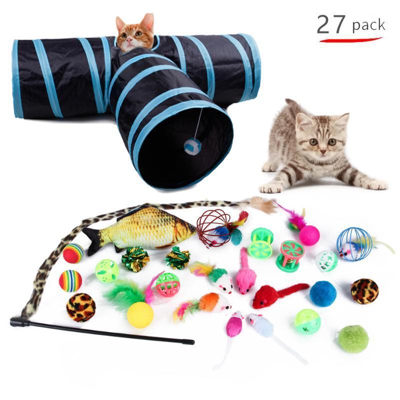 Toys de chat jouets pour animaux de compagnie Set 21 pièces Channel Teaser Teaser Stick Tower Mouse Tower