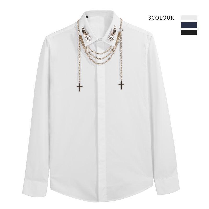 야시 시장 유행 브랜드 개성 패션 메탈 체인 장식 비 아이언 슬림 긴팔 남자 셔츠 바닥 셔츠 바닥