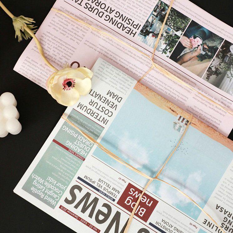Kraft Paper Flower Packaging Pink Gray Retro Newspaper Gift Packing 10 Sheets/bag