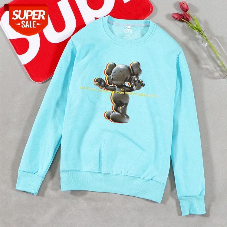 Herren Flut Marke Sesam Street Puppen Gedruckt Herbst- und Winterkleidung Langarm Rundhals Pullover Baumwolle Samt Pullover Paar S # E51B