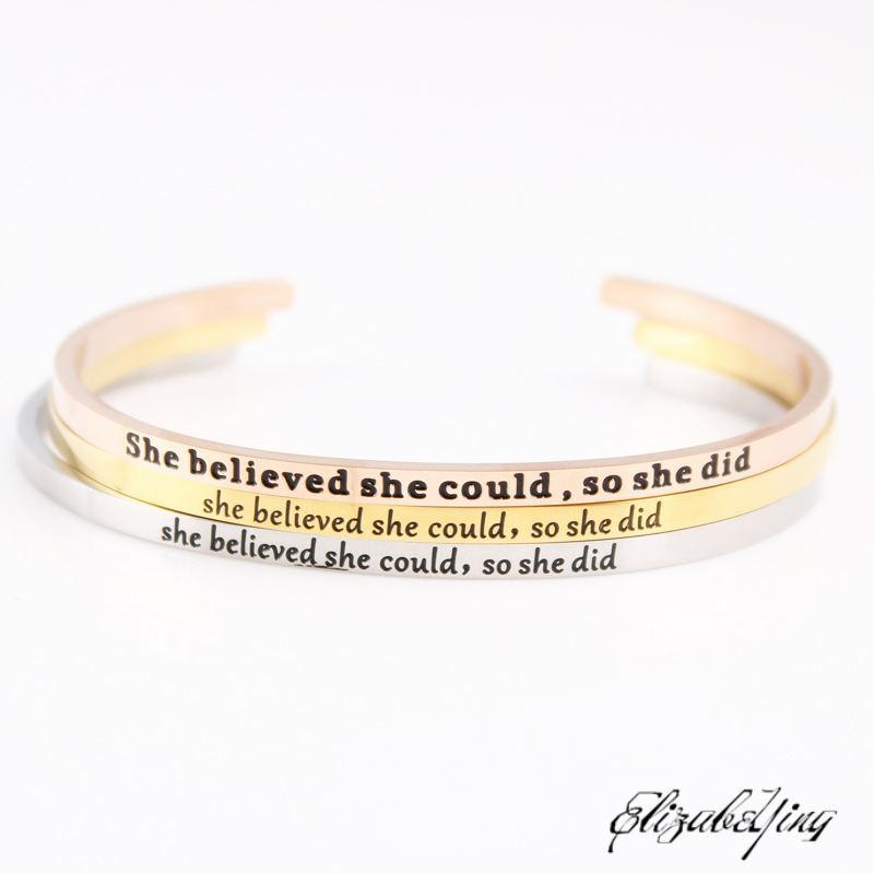 She Believe Could So Did Stainless Steel Engraved Positive Inspirational Quote Hand Imprint Cuff Mantra Bracelet Bangle