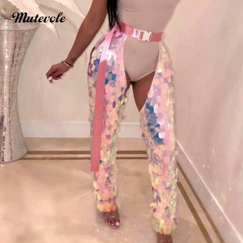 Damenhose Capris Mutevole Hohe Taille Bunte Pailletten mit Gürtel Frauen Sexy Aushöhlen Schein-Clubbekleidung Paillette Glitter Hose