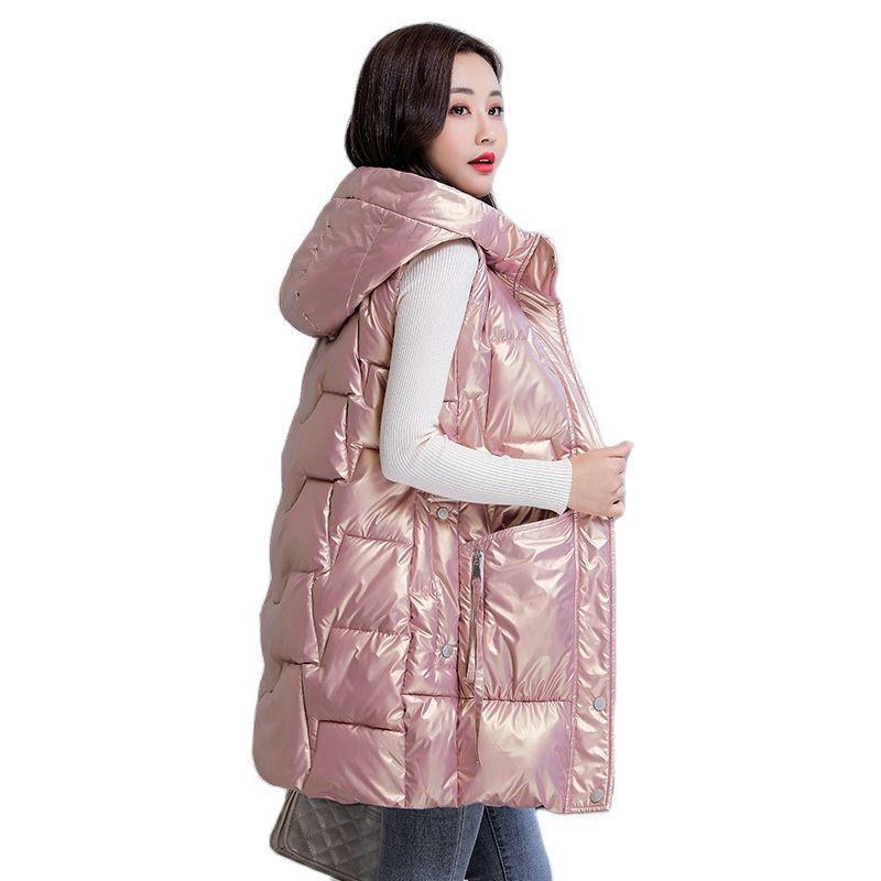 Kadın Aşağı Parkas Kadınlar Sonbahar Kış Kapüşonlu Büyük Cep Parlak Kolsuz Midi Yelek Ceket Dış Giyim Kirpi Ceket Pamuk Yastıklı Yelek