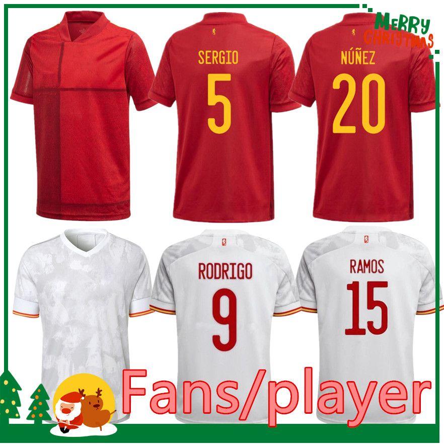 2021 Spagna Jersey di calcio Camiseta España Morata Rodrigo Torres Pedri 20 21 European Cup Thiago Iniesta Alba Camicie da calcio Uomo + Kid Kit Donne Fans versione giocatore