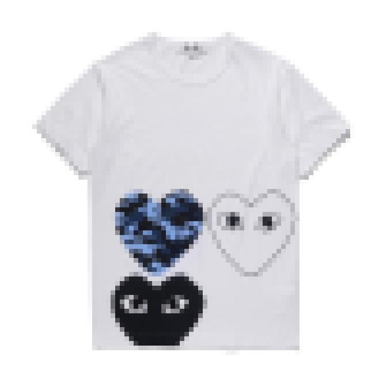 com 최고의 품질 남성 여성 푸른 새로운 재생 CDG 수 놓은 더블 하트 짧은 소매 티셔츠 붉은 심장 티