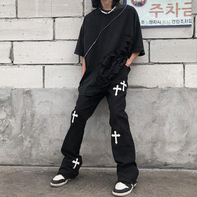 Men's pant 2021 Hiphop Brand Printed Cross Overalls Random Loose Retro High Tail Broek Streetwear Gothic for Men and Women 0802