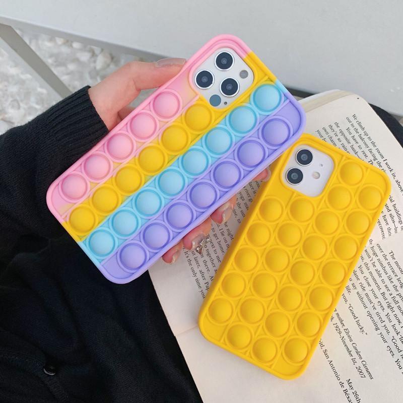 Moda Celular de Silica Capa para Festas Capa 3D Descompression Capas telefônicos para iPhone 12 Mini Pro 11 XR XS Max x 10 8 7 PLUS