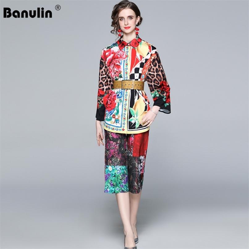 Calças de decolagem de verão terno mulheres colarinho colarinho multicolor vintage cópia superior e calças cortadas 2 partes set 210521