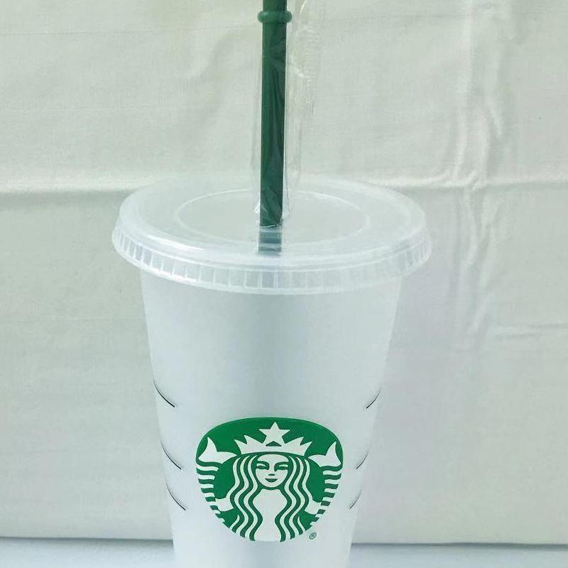 Starbucks 24oz / 710ml Kunststoff-Tumbler wiederverwendbarer klarer trinkender flacher bodenschale säulenform deckel stroh tassen bardian 50 stücke dhl
