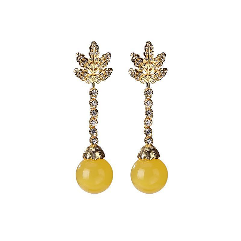 Dangle & Chandelier 925 Sterling Silver Gold Plated Natural Amber Ear Studs Fashion Temperament Ladies Eardrop Earring