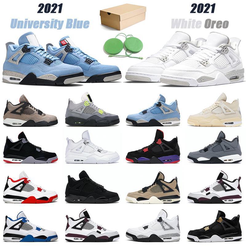 Zapatillas de baloncesto para hombre 4 mujeres 2021 White Oreo University Blue 4s Black Cat Fire Red zapatillas deportivas para hombre