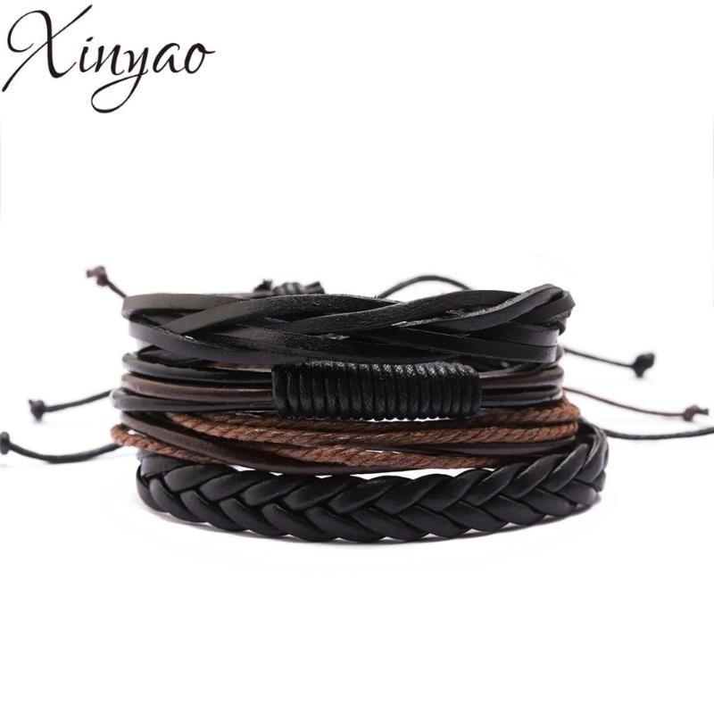 Charm Bracelets XINYAO 4pcs/lot Trendy Multilayer Men Genuine Leather Bracelet For Handmade Bangles Gift F16506