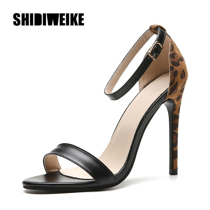 Femme Peep Toe Toe Super High High Heels Pompes d'impression léopard Sandales Femme Robe De Fête Bureau Slipper Chaussures Big Taille 36-43 VB292