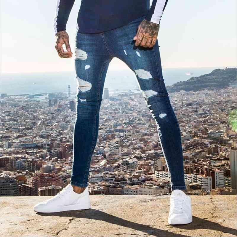 Erkek Katı Renk Kot 2021 Yeni Moda Ince Kalem Pantolon Seksi Rahat Delik Yırtık Tasarım Erkekler Streetwear Hip Hop Jeans