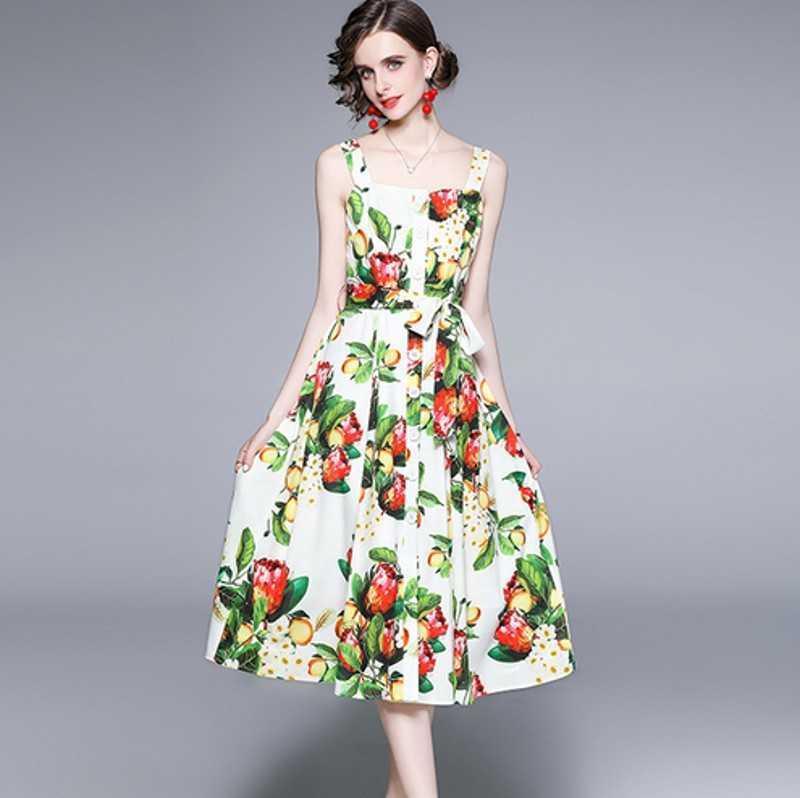 summer Fashion Designer dres's Dress spaghetti strap Backless Fruit Lemon Print Maxi Long Dresses 210531