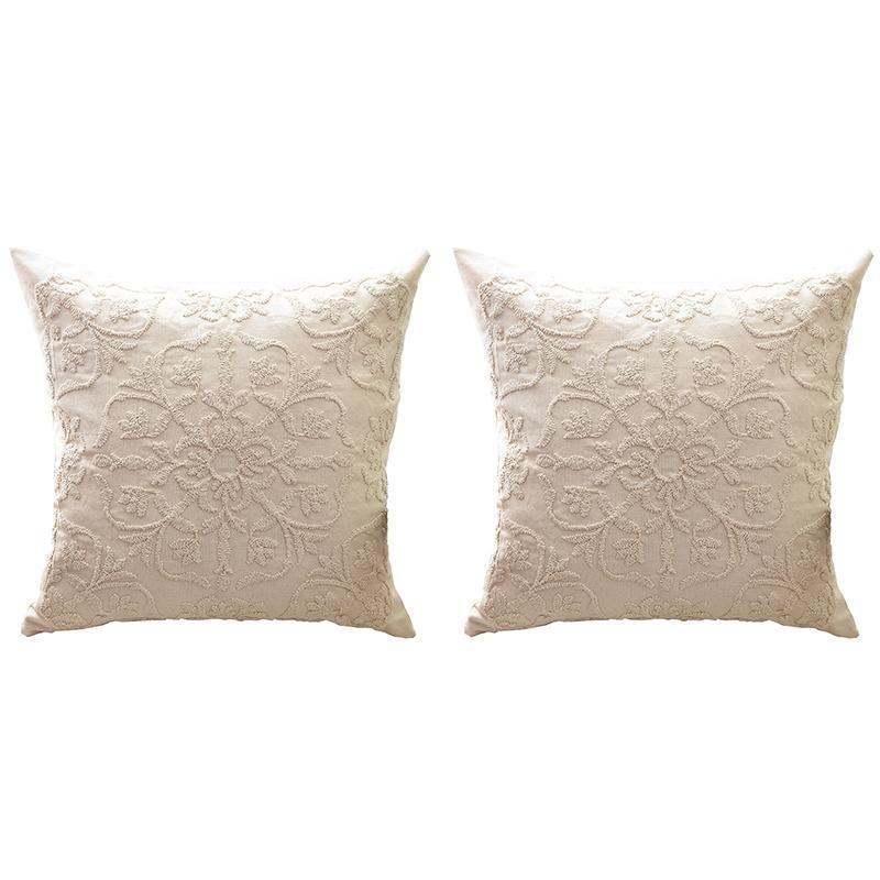 Pillow Case Cushion Cover Euro Rope Thread Embroidery Flowers Linen Cotton Boho Style Ethnic Sofa Pillowcase Home Decor 50X50cm