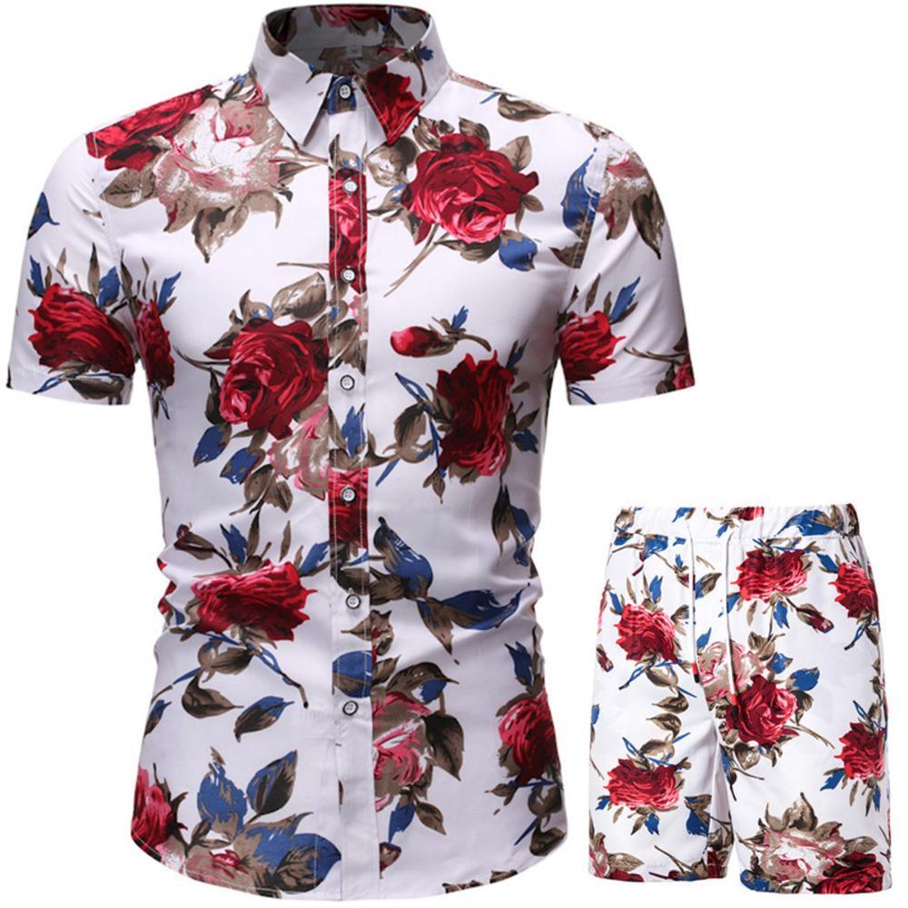 Sommer Herren Sets Blumendruck Hawaiianisches Hemd und Shorts Set Männer Strandkleidung Urlaub Kleidung Urlaub Outfit Männer Zwei Stück Set 3xl x0601