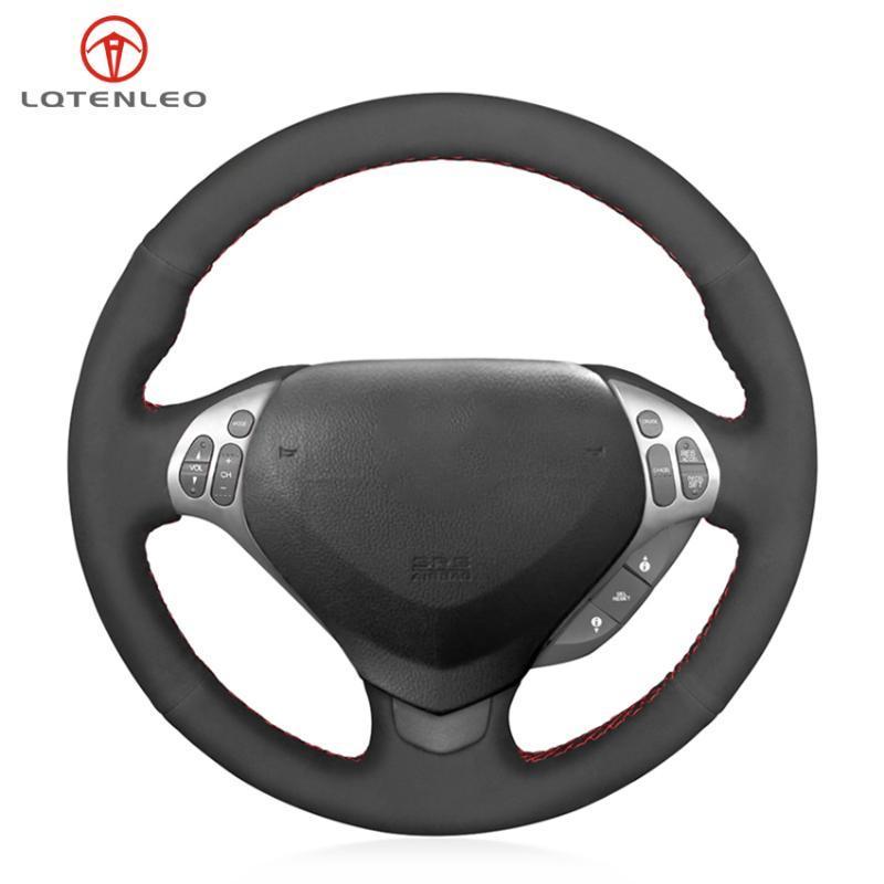 يغطي عجلة القيادة LQETELO أسود من جلد الغزال غطاء السيارة المخيط اليدوي ل TL Type-S 2007 2008 (3-تكلم)