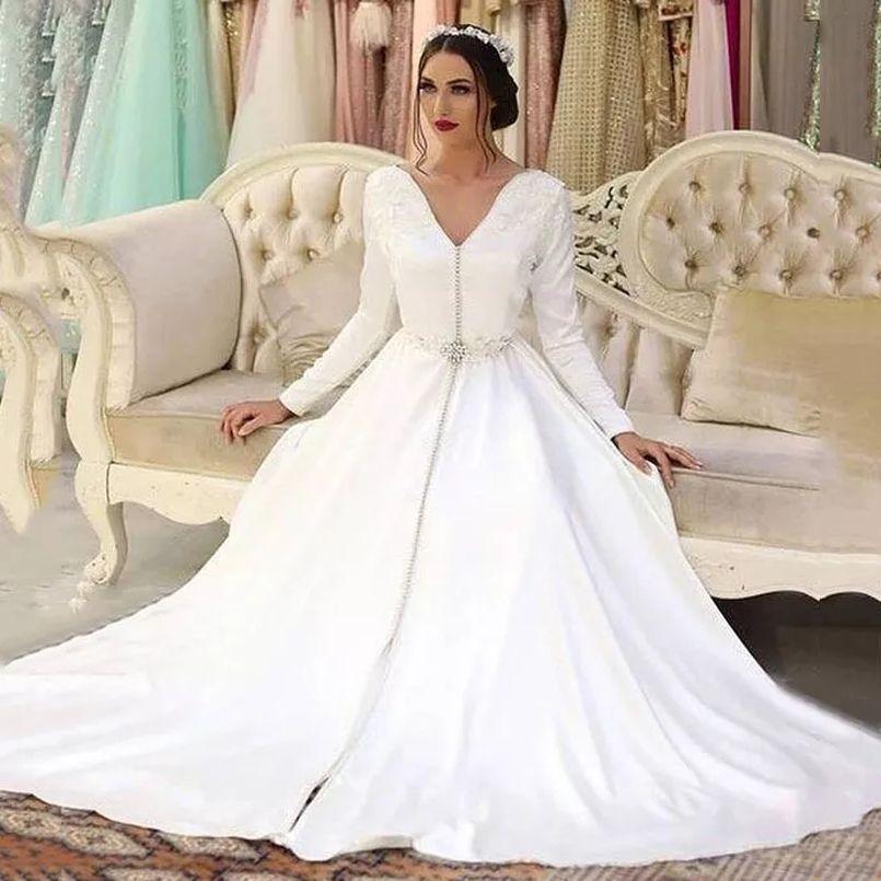 Пользовательские марокканские CAFTAN длинные рукава вечерние платья V шеи разведка поезд Дубай Саудовский арабский атлас официальный формирователь PROM