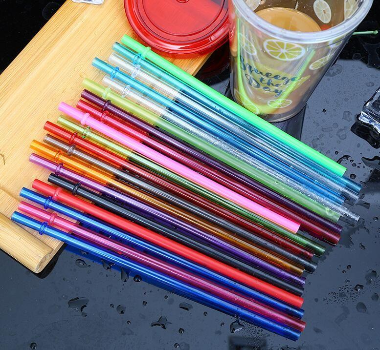 Palhas bebendo reutilizáveis coloridas como palha plástica 9 polegadas 230cm em linha reta para o suco de chá de leite por atacado